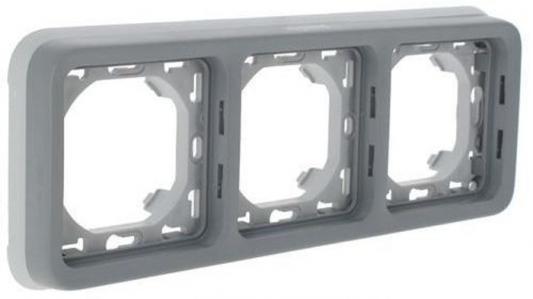 Рамка Legrand Plexo 3 поста серый 69687 распределительная коробка legrand plexo 92022
