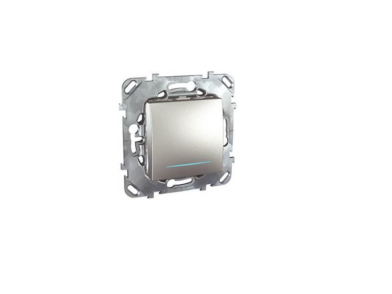 Выключатель Schneider Electric 1-клавишный с подсветкой алюминий MGU5.201.30NZD выключатель 3 клавишный schneider electric glossa титан