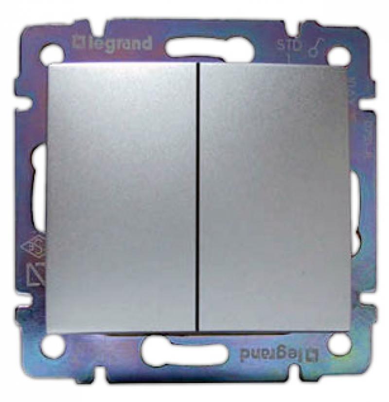 Выключатель Legrand Valena 2-клавишный алюминий 770105 выключатель 2 клавишный eva ip54