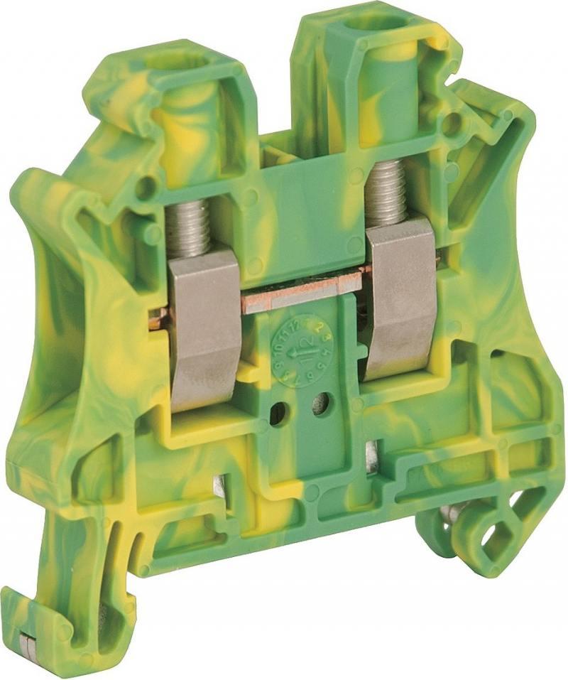 Клеммник Schneider Electric винтовой с заземлением сечением провода 6мм 2 точки подключения NSYTRV62
