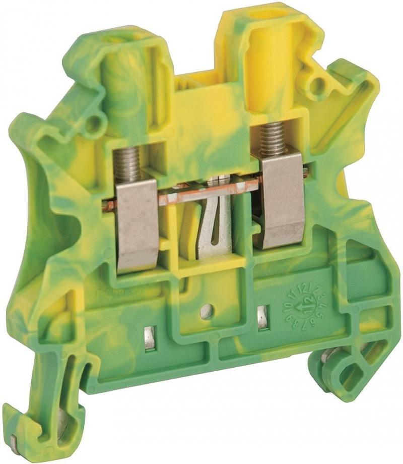 Клеммник Schneider Electric винтовой с заземлением сечением провода 4мм 2 точки подключения NSYTRV42