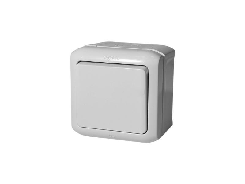 Выключатель Legrand Quteo 1-клавишный серый 782330 выключатель 1 клавишный наружный бежевый 10а quteo