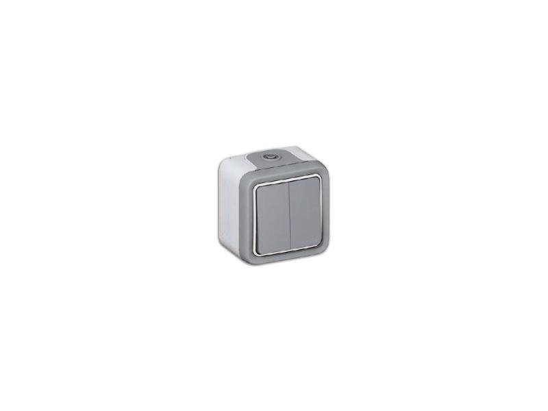 Переключатель Legrand Plexo 2 клавиши 10А белый 69715 выключатель legrand 2 клавиши цвет дерево