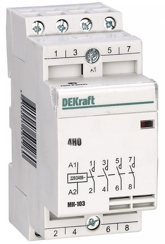 Модульный контактор DEKraft 4НО 63А 230В МК-103 18088DEK