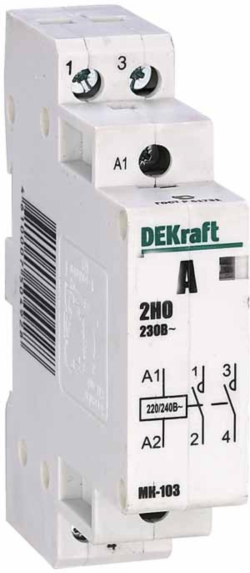 Модульный контактор DEKraft 2НО 25А 230В МК-103 18064DEK