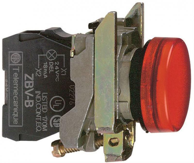 Лампа сигнальная Schneider Electric 22мм 24В красный XB4BVB4 блок светодиодный schneider electric 24в красный zbvb4