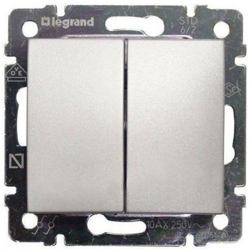 Переключатель Legrand Valena двухклавишный алюминий 770108