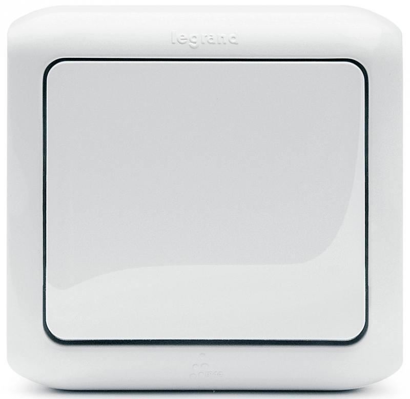 Выключатель Legrand Quteo 10А 1 клавиша белый 782304 выключатель 2 клавишный наружный ip44 белый 10а quteo