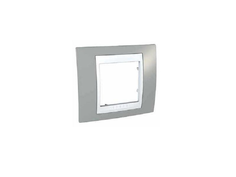Рамка 1 пост хамелеон серый/белый Schneider Electric Unica MGU6.002.865 schneider рамки unica хамелеон 1 пост индиго с белой вставкой