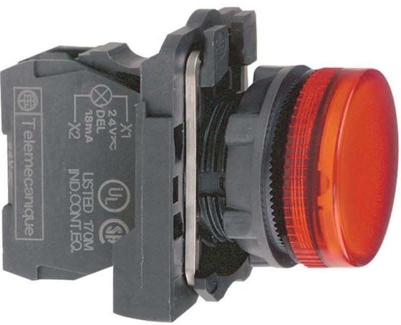 Лампа сигнальная Schneider Electric 22мм 30-240В красный XB5AVM4 лампа сигнальная abb 230bcl 523r красная