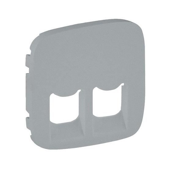 Лицевая панель Legrand Valena Allure для двойных телефонных/информационных розеток алюминий 755427 лицевая панель legrand valena allure для двойных телефонных информационных розеток слоновая кость 75