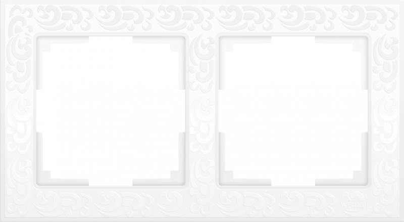 Рамка Flock на 2 поста белая WL05-Frame-02-white 4690389046711 qutaa 2018 women pumps flock square med heel shoes cross strap pointed toe elegant black white ladies casual shoes size 34 39