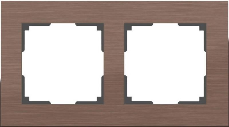 Рамка Aluminium на 2 поста алюминий коричневый WL11-Frame-02 4690389073694