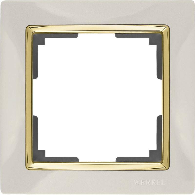 Рамка Snabb на 1 пост слоновая кость/золото WL03-Frame-01-ivory/GD 4690389083860