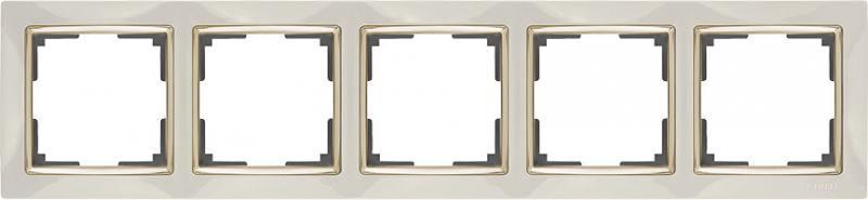 Рамка Snabb на 5 постов слоновая кость/золото WL03-Frame-05-ivory/GD 4690389083945