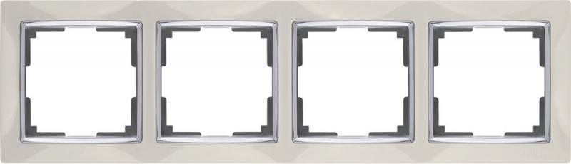 Рамка Snabb на 4 поста слоновая кость WL03-Frame-04-ivory 4690389046339
