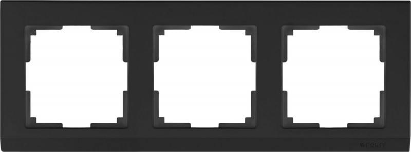 Рамка Stark на 3 поста черный WL04-Frame-03-silver/black 4690389048852