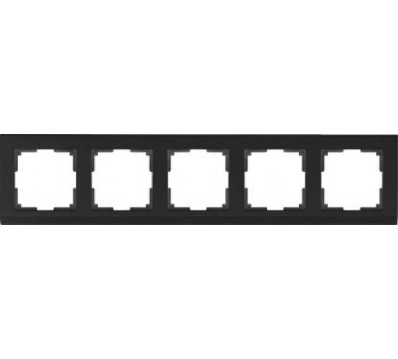 Рамка Stark на 5 постов черный WL04-Frame-05-silver/black 4690389059353 werkel рамка stark на 5 постов черный werkel wl04 frame 05 silver black 4690389059353