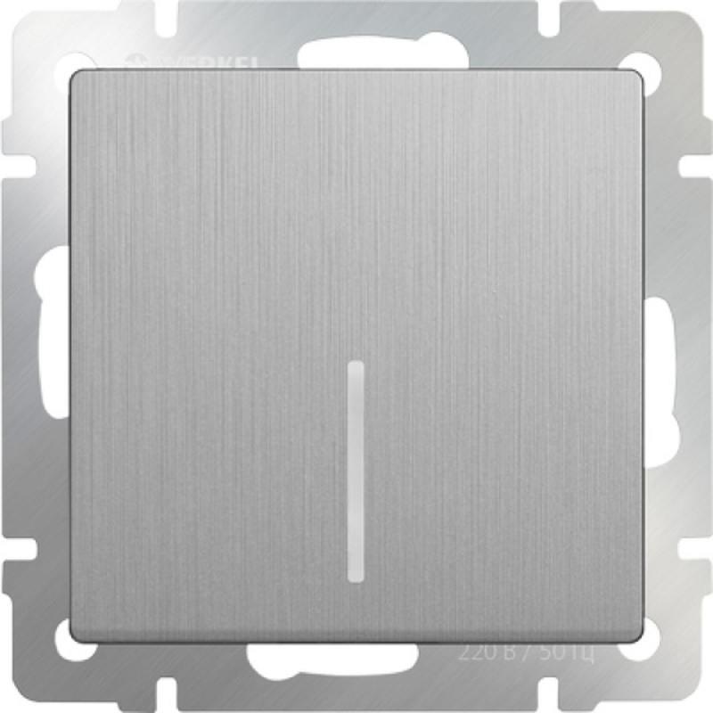 Выключатель одноклавишный с подсветкой серебряный рифленый WL09-SW-1G-LED 4690389085130