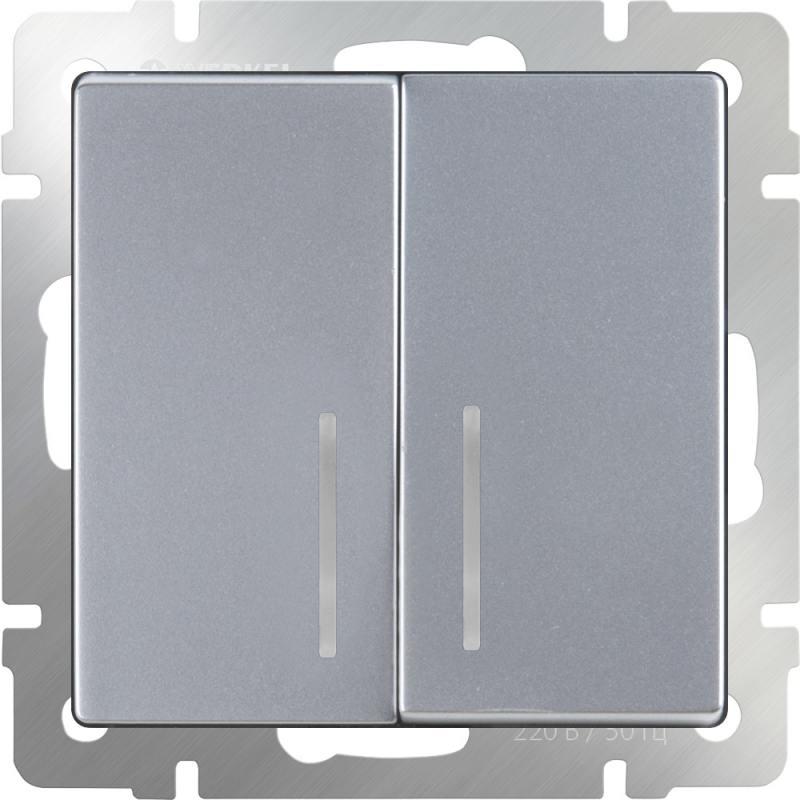 Выключатель двухклавишный с подсветкой серебряный WL06-SW-2G-LED 4690389053870 выключатель двухклавишный наружный бежевый 10а quteo