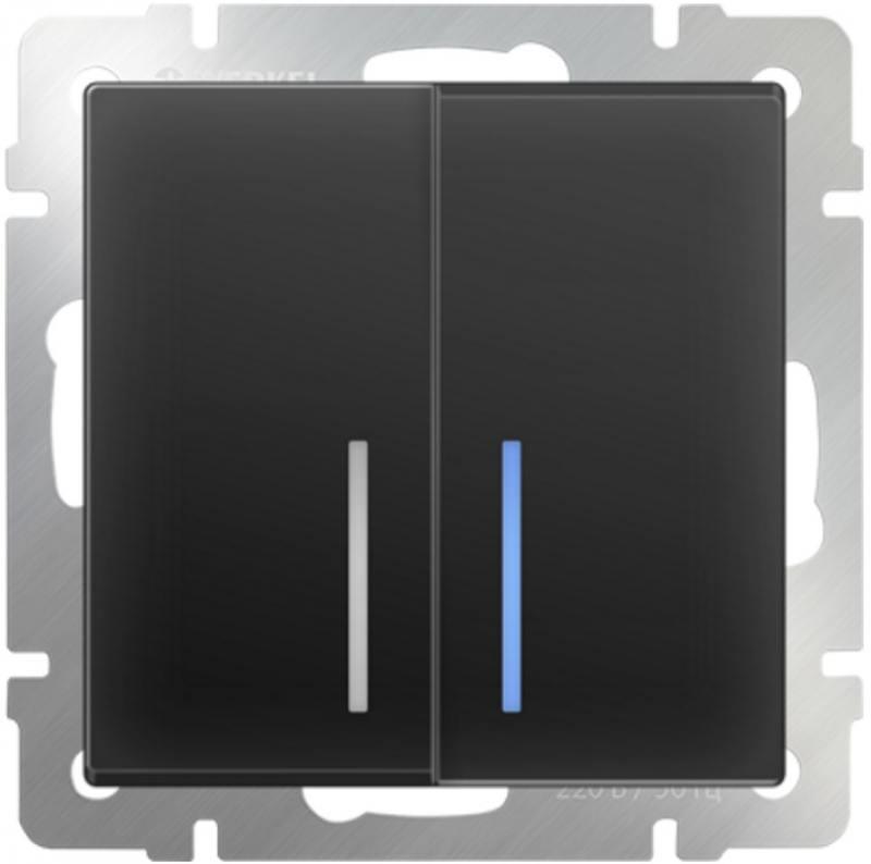 Выключатель двухклавишный с подсветкой черный матовый WL08-SW-2G-LED 4690389054198 выключатель двухклавишный наружный бежевый 10а quteo