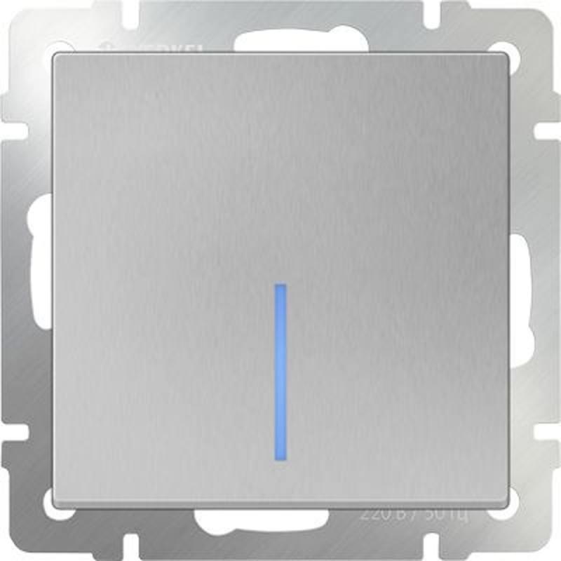 Выключатель одноклавишный проходной с подсветкой серебряный WL06-SW-1G-2W-LED 4690389053863