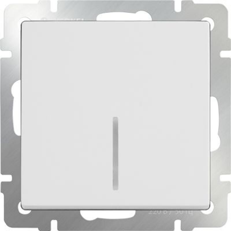 Выключатель одноклавишный с подсветкой белый WL01-SW-1G-LED 4690389059179 werkel выключатель двухклавишный с подсветкой wl08 sw 2g led