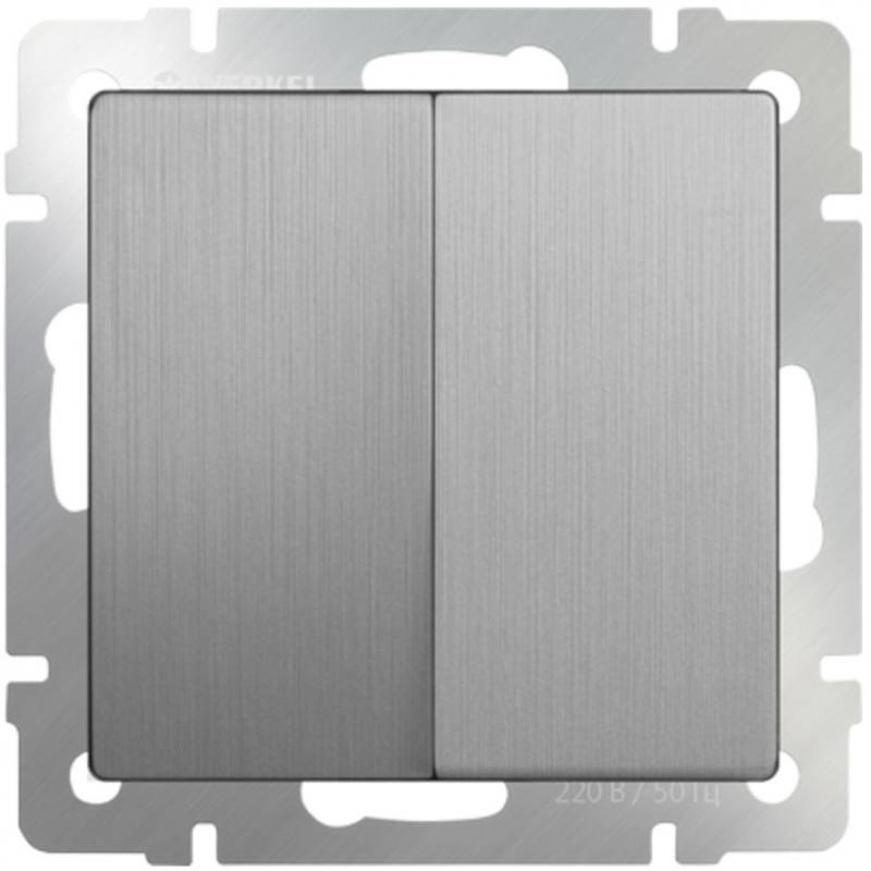 Выключатель двухклавишный серебряный рифленый WL09-SW-2G 4690389085147 werkel выключатель двухклавишный с подсветкой wl08 sw 2g led