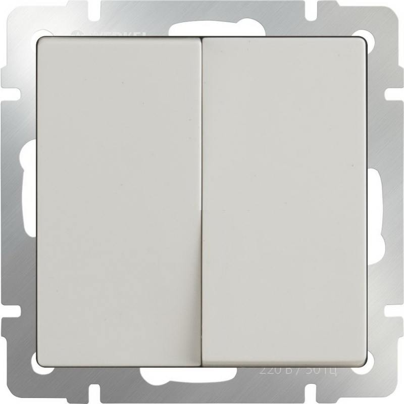 Выключатель двухклавишный слоновая кость WL03-SW-2G-ivory 4690389046162 werkel выключатель двухклавишный с подсветкой wl08 sw 2g led