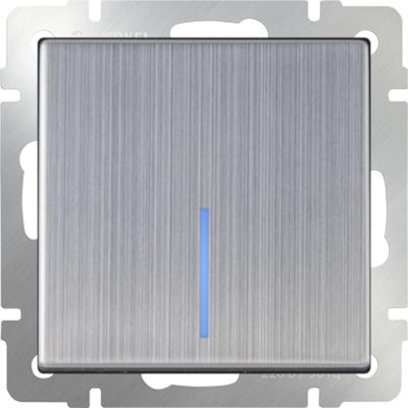 Выключатель одноклавишный проходной с подсветкой глянцевый никель WL02-SW-1G-2W-LED 4690389059209