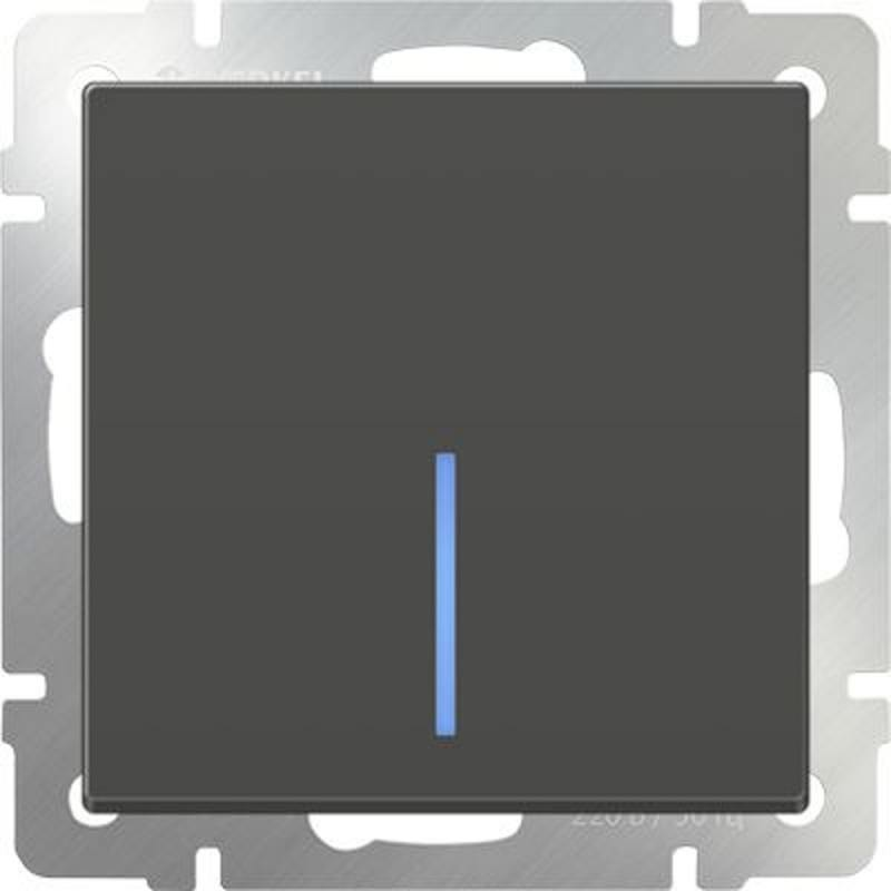 Выключатель одноклавишный с подсветкой серо-коричневый WL07-SW-1G-LED 4690389054013