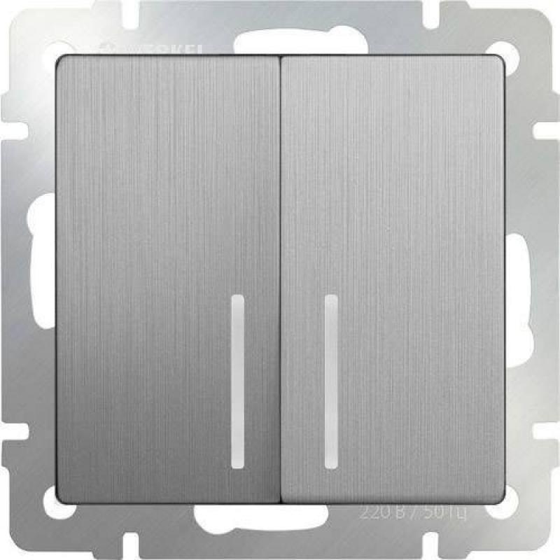 Выключатель двухклавишный проходной с подсветкой серебряный рифленый WL09-SW-2G-2W-LED 4690389085161