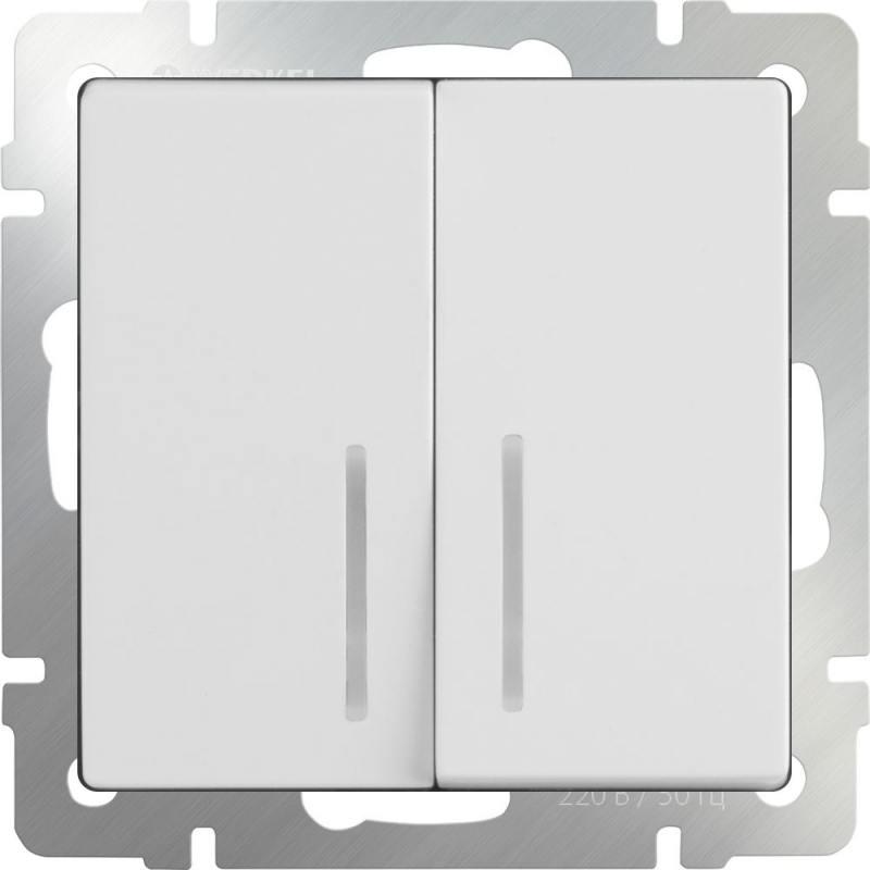 Выключатель двухклавишный с подсветкой белый WL01-SW-2G-LED 4690389059193 выключатель двухклавишный наружный бежевый 10а quteo