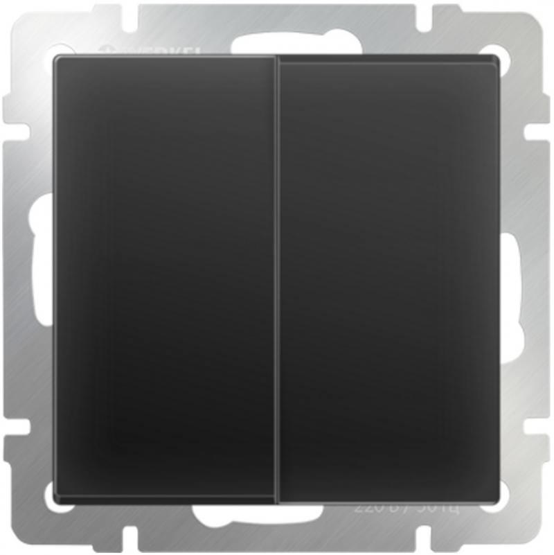 Выключатель двухклавишный проходной черный матовый WL08-SW-2G-2W 4690389054167 выключатель двухклавишный наружный бежевый 10а quteo