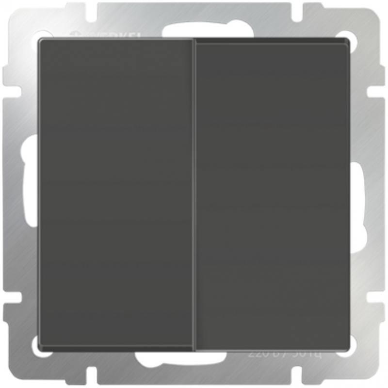Выключатель двухклавишный проходной серо-коричневый WL07-SW-2G-2W 4690389054006 выключатель двухклавишный проходной с подсветкой серо коричневый wl07 sw 2g 2w led 4690389054044
