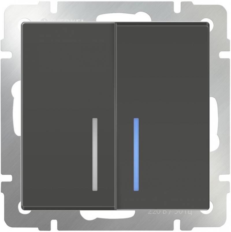 Выключатель двухклавишный с подсветкой серо-коричневый WL07-SW-2G-LED 4690389054037 выключатель двухклавишный проходной с подсветкой серо коричневый wl07 sw 2g 2w led 4690389054044