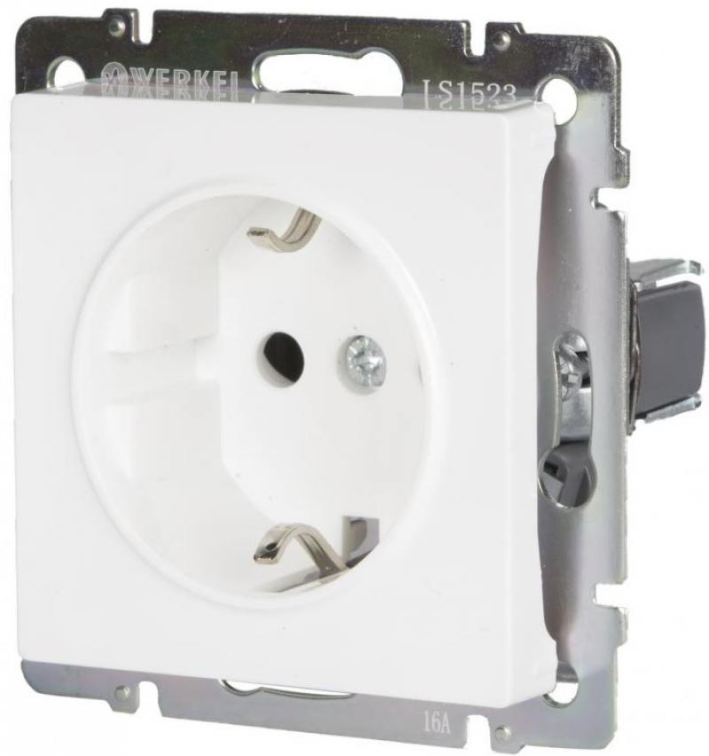 Розетка с заземлением белая WL01-SKG-01-IP20 4690389045615