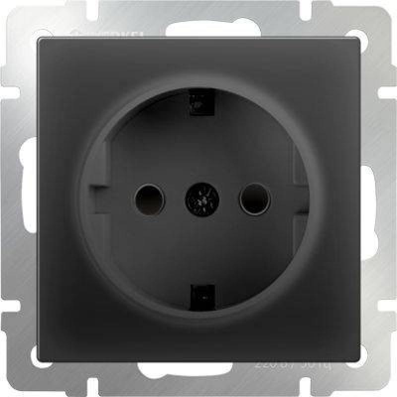 Розетка с заземлением и шторками черный матовый WL08-SKGS-01-IP44 4690389054228 розетка abb bjb basic 55 шато 2 разъема с заземлением моноблок цвет чёрный