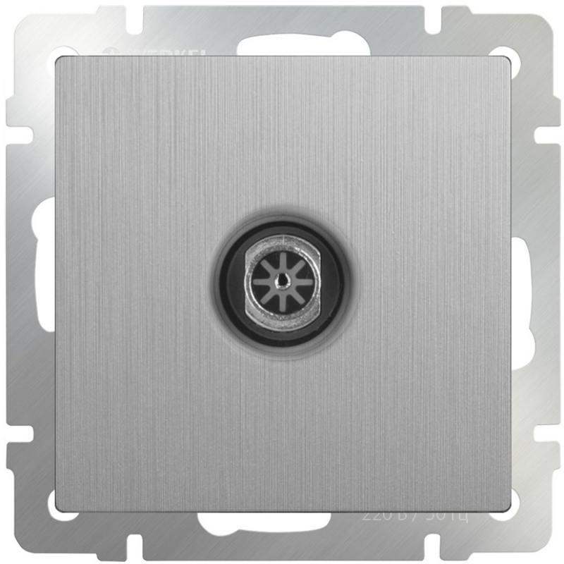 ТВ-розетка оконечная серебряная рифленая WL09-TV 4690389085185 тв розетка abb bjb basic 55 шале оконечная цвет белый