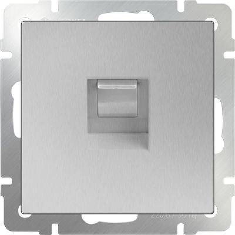 Телефонная розетка RJ-11 серебряный WL06-RJ-11 4690389053924 телефонная розетка abb bjb basic 55 шато 1 разъем цвет черный