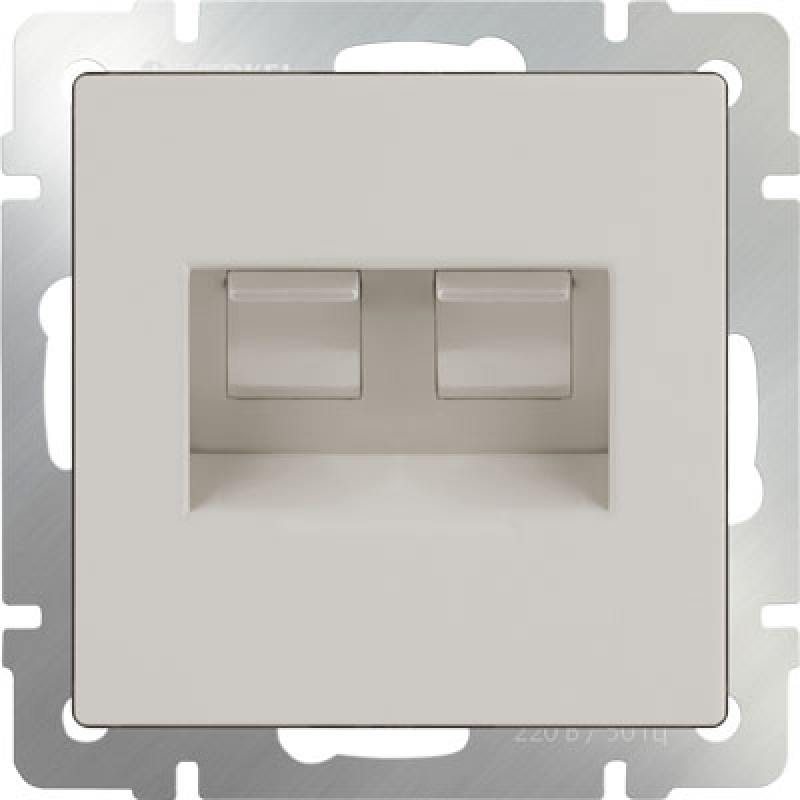Розетка двойная Ethernet RJ-45 слоновая кость WL03-RJ45+RJ45 -ivory 4690389073533
