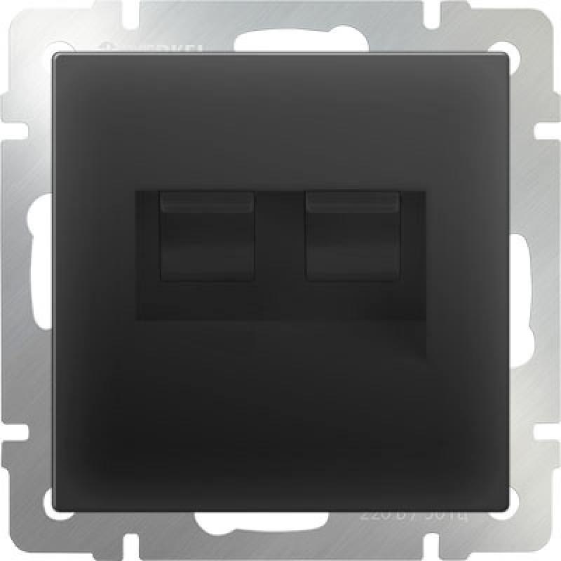 Розетка двойная Ethernet RJ-45 черный матовый WL08-RJ45+RJ45 4690389073564 powersync cat 7 rj45 high speed ethernet cable dark blue 10m