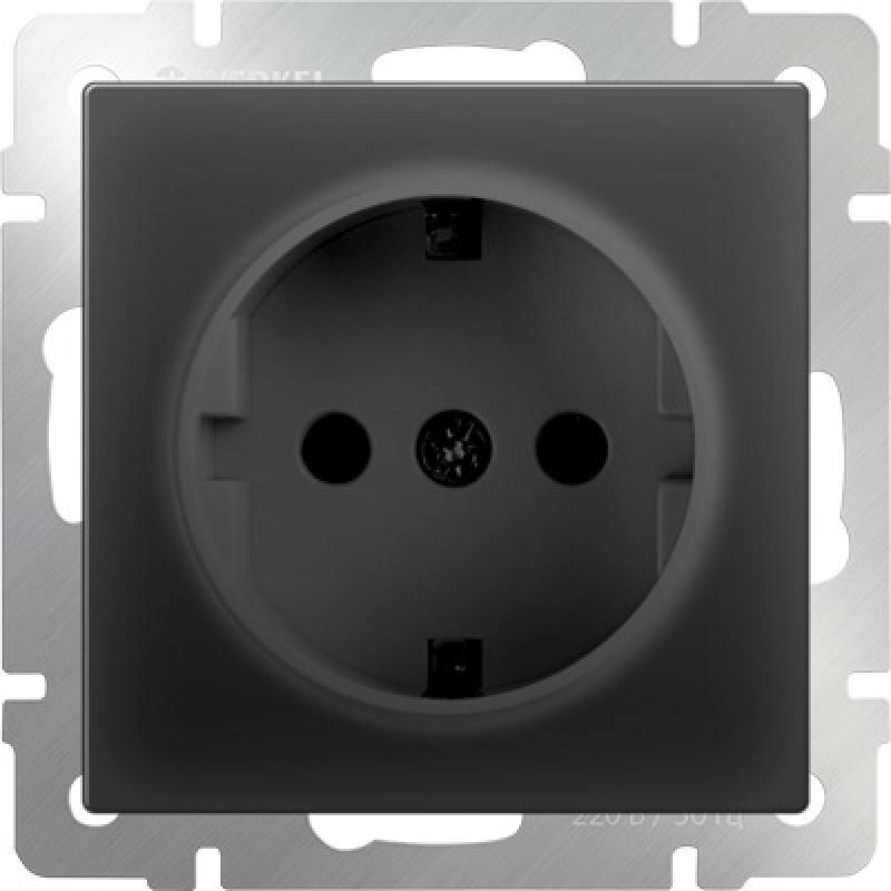 Розетка с заземлением черный матовый WL08-SKG-01-IP20 4690389054211 werkel розетка с землением черный матовый wl08 skg 01 ip20 4690389054211