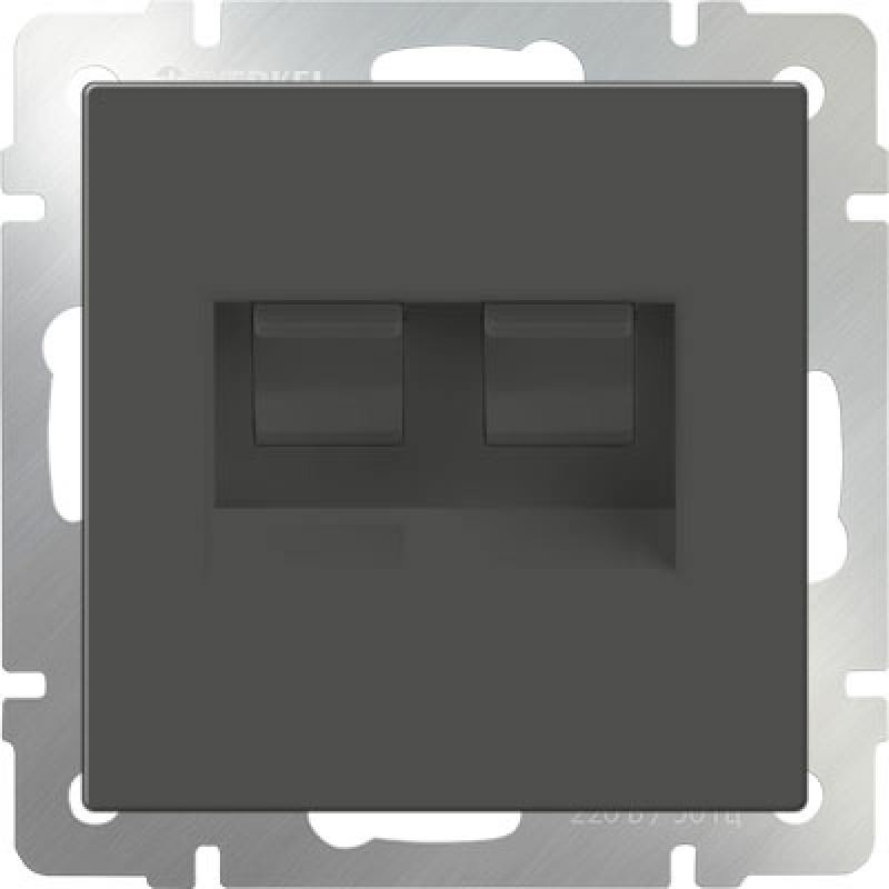 Розетка двойная Ethernet RJ-45 серо-коричневый WL07-RJ45+RJ45 4690389073557