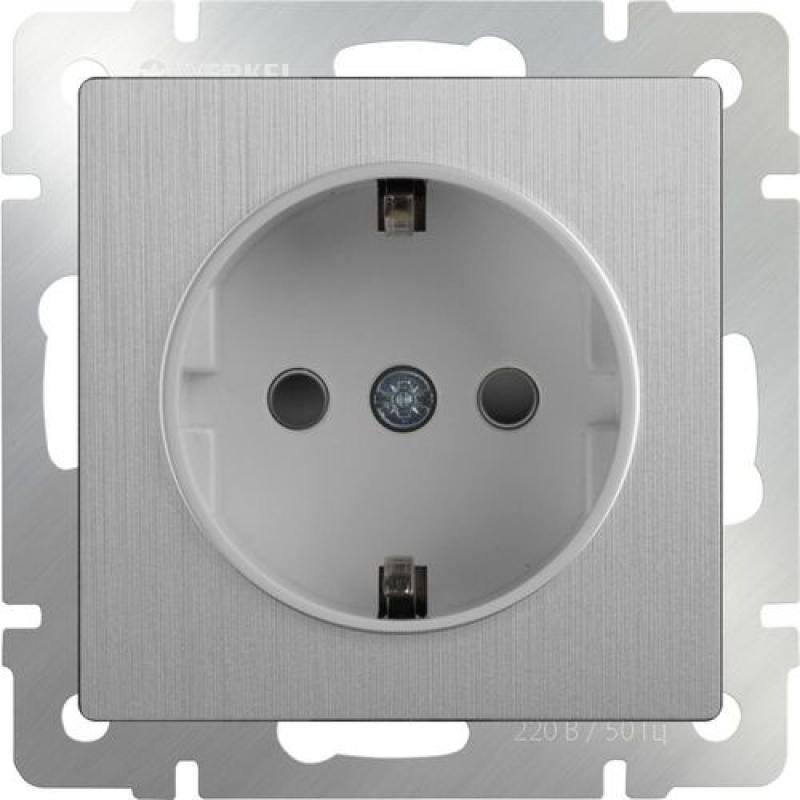 Розетка с заземлением и шторками серебряная рифленая WL09-SKGS-01-IP44 4690389085086