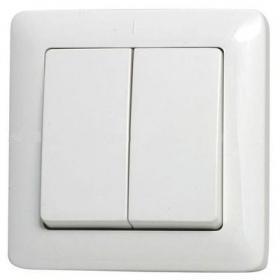 Выключатель WESSEN VS56-234-B ХИТ белый 2-клавишный 6А скрытый монтаж