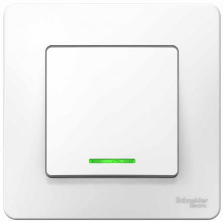 Выключатель SCHNEIDER ELECTRIC BLNVS010111 Blanca 1-кл. сп сх.1 10А 250В с подсветкой бел. выключатель tdm sq1801 0047 1 кл открытой установки с подсветкой ip20 10а сосна ладога