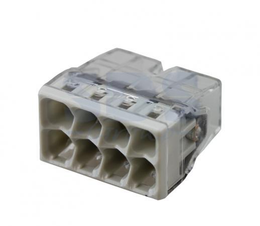 2273-248 Электромонтажные экспресс-клеммы (8*2.5мм2 с пастой) 50шт WAGO зажим соединит изолирующий 1 3мм 50шт серый