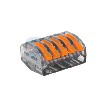 Универсальная многоразовая 5-проводная клемма REXANT (0,08-2,5 (4) мм?) 40шт. прозрачные