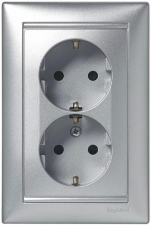 Legrand 770127 Розетка двойная (моноблок) Valena с заземлением, с защитными шторками, алюминий